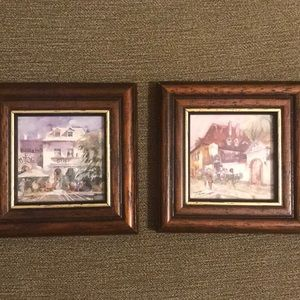 """Two miniature framed prints from Krakow-3.5""""x3.5"""